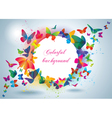 Colorful frame with butterflies vector image vector image