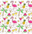 colorful seamless summer pattern with palm vector image