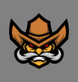 cowboy head mascot logo vector image vector image
