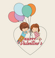 cute couple flying with bunch balloons card happy vector image
