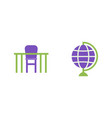 desk and globe flat icons geography vector image vector image