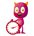 devil with big clock on white background vector image vector image
