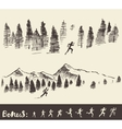Drawn man running through the forest vector image vector image