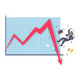 falling businessman and down arrow chart flat vector image vector image