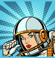 female astronaut points to himself thumb vector image vector image