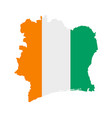 flag in map ivory coast vector image vector image