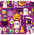 Flat Purple Halloween Trick or Treat Objects vector image vector image