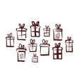 gifts with bow set of icons doodle vector image vector image