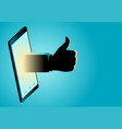 hand appeating from smart phone doing thumb up vector image vector image