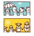 hand drawn cartoon characters - summer people vector image vector image