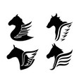 horse head wings icon symbol vector image vector image