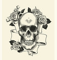 human skull with rose grasped with jaws and ribbon vector image