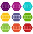 ice hockey rink icon set color hexahedron vector image vector image