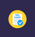 iso 14001 icon flat vector image vector image