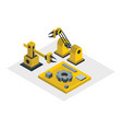 isometric robots isolated on white background vector image vector image