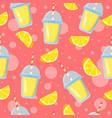 lemon pieces and lemonade glasses vector image