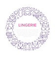 lingerie circle poster with flat line icons of bra vector image vector image