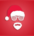 man hipster in santa claus hat paper art style vector image vector image