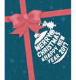 Merry Christmas greeting card with ribbon vector image vector image
