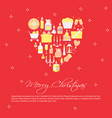 merry christmas poster template in flat style vector image