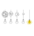messy lines and bulb idea concept with lamps vector image vector image