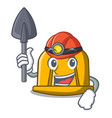 miner construction helmet mascot cartoon vector image