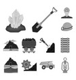 mining industry monochrome icons in set collection vector image vector image