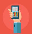mobile phone online digital library flat design vector image vector image