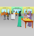 muslim people shopping at a traditional market vector image vector image