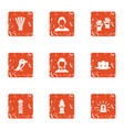 notice icons set grunge style vector image vector image