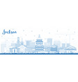 outline jackson mississippi city skyline with vector image