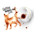 Poster wild coffee cat vector image vector image