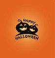 pumkins black silhouette happy halloween banner vector image