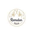 ramadan kareem mono line vector image vector image