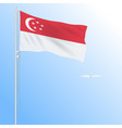 realistic flag of singapore fluttering in the wind vector image vector image