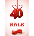 red 3d text SALE with percent discount vector image vector image
