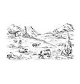 rural landscape with cows and farm mountai vector image vector image
