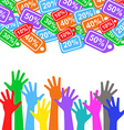 Sale labels background and colorful hands - sale