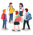 schoolchildren stand together with bags and books vector image vector image
