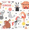 seamless pattern circus animal vector image vector image