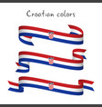 set of three ribbons with the croatian tricolor vector image