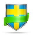 Shield with flag Sweden and ribbon vector image