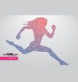 silhouette a running female from triangle vector image