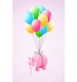 Small pink elephant flying vector image vector image