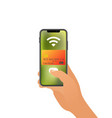 smartphone paying wireless over pos terminal vector image