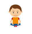 smiling little boy sitting on floor vector image vector image