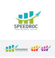 speed rocket logo design vector image