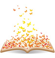 Spring with butterflies in the book vector image vector image