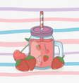 strawberry juice fruit in pot with straw vector image vector image