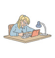 student teenager sitting at table reading e-book vector image